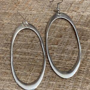 925 Sterling Silver Oval Dangle Earrings